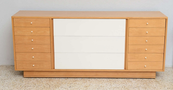 Maple dresser with white painted drawers