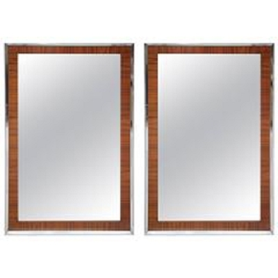 2 mirrors with marquetery and aluminium frame