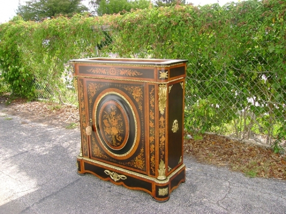 Marquetery commode with brass hardware